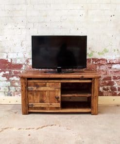 Rustic plank tv unit