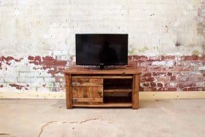 Rustic plank tv unit