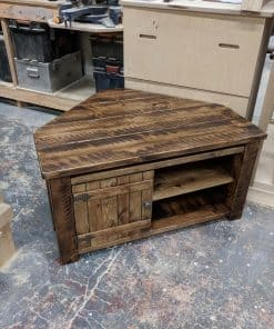 Corner rustic TV unit